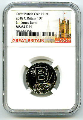 2018 10P Great Britain ' B '- James Bond 007 Ngc Ms64 Dpl British Coin Hunt