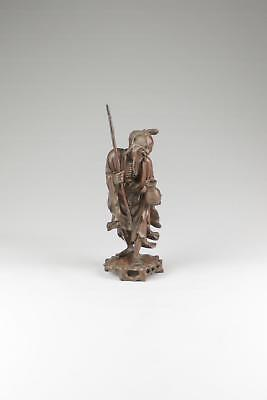 Large 19/20thC Late Qing Chinese Hardwood Carved Luohan Arhat Sculpture Figure