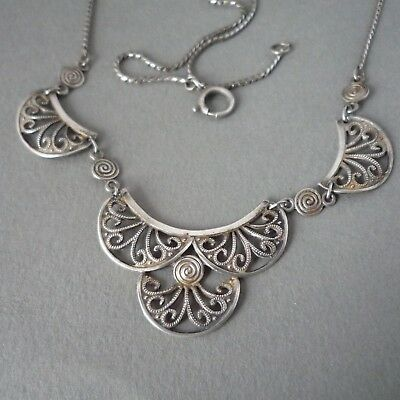 Antique Vintage German Art Deco Wmf Ikora Filigree Necklace Germany Silver Pltd