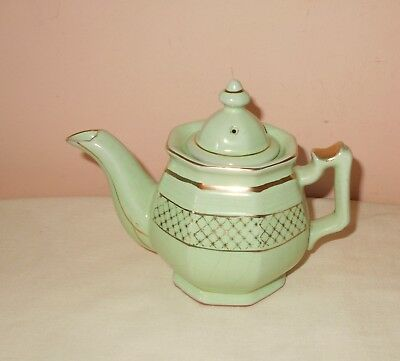 Pretty Vintage Green & Gold Enesco Japan Teapot Tea Pot
