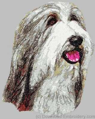 Embroidered Short-Sleeved T-shirt - Bearded Collie DLE1477  Sizes S - XXL
