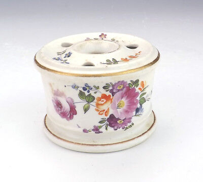 Antique English Pottery - Hand Painted Flowers Quill Stand Inkwell - Lovely!
