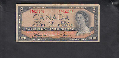1954 Canada 2 Dollars Bank Note Devil Face Coyne / Tower
