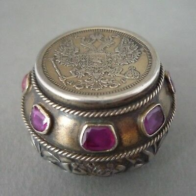 Antique Silver Ruby Gem Set Austro Hungarian Imperial Russian Coin Pill Box/case