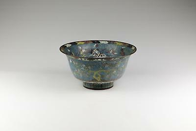 Large 19thC Antique Qing Fang Ming Style Chinese Cloisonne Enamelled Bowl