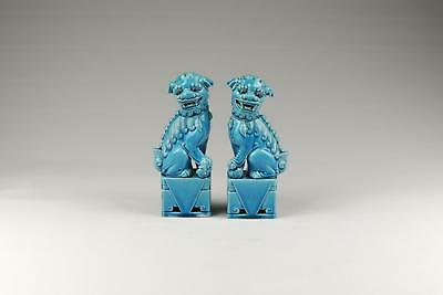 Fine Pair Antique Chinese 20thC Turquoise  Foo Dog Lion.