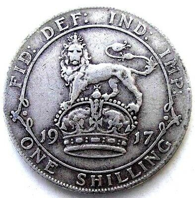 Great Britain Uk Coins, One Shilling 1917, George V, Silver 0.925