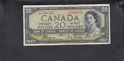 1954 Canada 20 Dollars Devil Face Bank Note Coyne / Tower