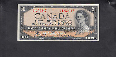 1954 Canada 50 Dollars Devil Face Bank Note Coyne / Towers
