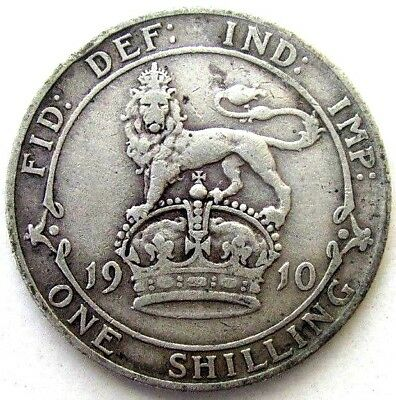 Great Britain Uk Coins, One Shilling 1910, Edward Vii, Silver 0.925