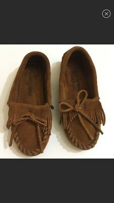 Girl's Size 13 Minnetonka Kilty Moccasins Suede Leather Brown Chestnut
