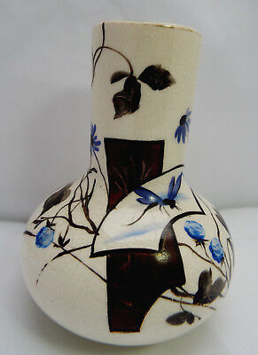 VINTAGE  Ivory Colour Onion Shaped Posy Vase w/ HANDPAINTED  Dragonfly & Flora