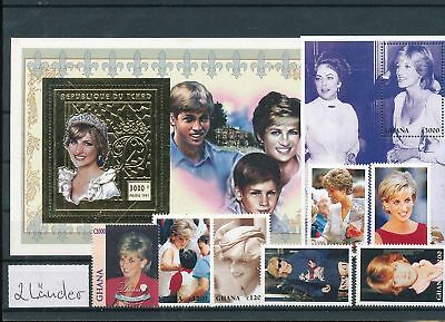 12044 / Afrika Lot ** MNH Ghana Tschad Royal Diana