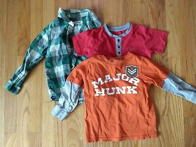 Lot of 3 Boys Shirts, Size 3T Long Short Sleeve Plaid Button Up DKNY Cherokee
