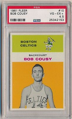 1961-62 Fleer Basketball #10 Bob Cousy HOF PSA 4.5 SET BREAK ST LOUIS HAWKS