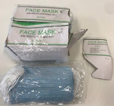 100 Pcs Disposable Earloop Face Masks Non-Medical Hypoallergenic New - Open