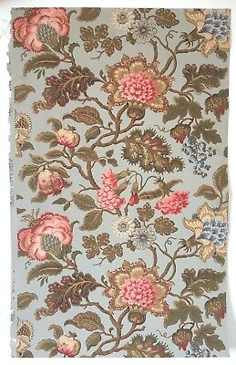 Beautiful 19th C. French Zuber Jacobean Floral Wallpaper (2326)
