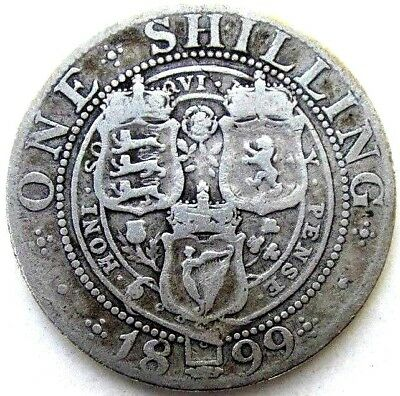 Great Britain Uk Coins, One Shilling 1899, Victoria, Silver 0.925