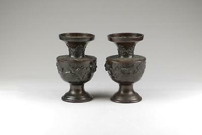 Large Pair Antique 19thC Meiji Japanese Patinated Bronze Sculpted Relief Vases