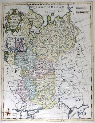 RUSSIA IN EUROPE  BY THOMAS KITCHIN  GENUINE ANTIQUE MAP WITH HAND COLOUR c1762