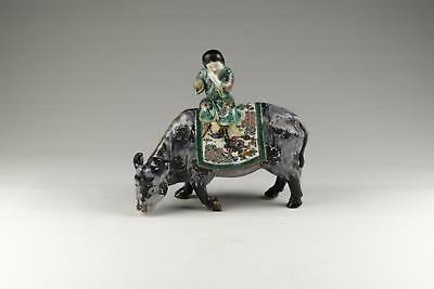 Rare Large Antique 19/20thC Japanese Meiji Kutani Porcelain Figure On A Ox.