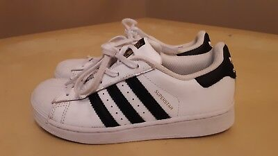 Adidas Superstar Black and White Shoes good condition Classic Boys/Girls size 1