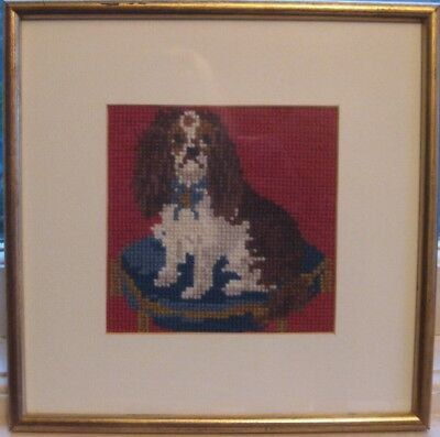 Completed and framed Elizabeth Bradley Tapestry. 'Spaniel Puppy' Perfect.
