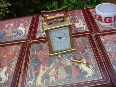 8 Day Carriage Clock / Escapement Mantle Clock With Key For Spare Or Repair
