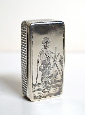 Very rare Antique Russian Niello Silver Tabatiere Tobacco Snuff / Trinket Box