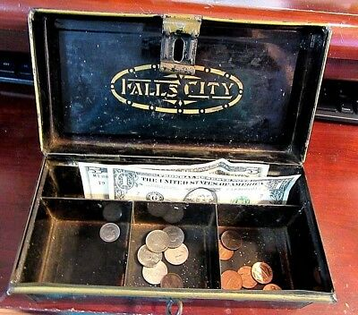 "Antique Falls City Cash Box With Latch 8.5X4X4"" Black and Gold"