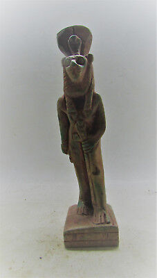 Beautiful Undated Egyptian Glazed Statuette Of Anubis