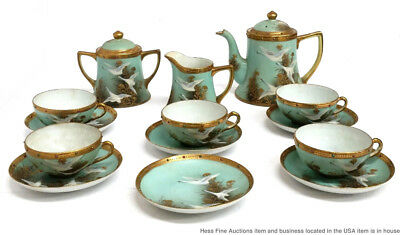 Superb Antique Japanese Satsuma Moriage Gilt Nippon Flying Cranes China Tea Set