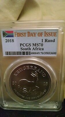 2018 1 Rand Silver Krugerrand PCGS MS70 First Day of Issue Flag Label