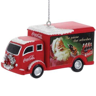 Coca Cola Delivery Truck with Silver Wreath Christmas Ornament Coke CC1111 New