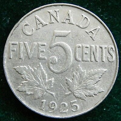 1925 Canadian Key Date 5 cent coin