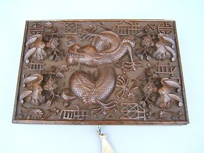 Terrific 19C Anglo Indian Hand Carved Antique Jewellery Box - Fab Interior
