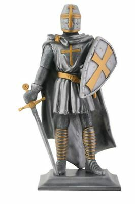 Medieval Armored Templar Knight with Sword and Shield Figurine