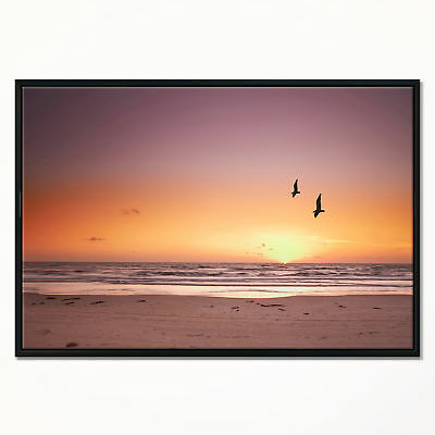 ''Beach Sunset and Sea Gulls' Framed Graphic Art Print on Wrapped Canvas