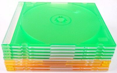 NEW Lot of 9 Empty Thin Slim Single Disc Jewel Cases, Orange and Green