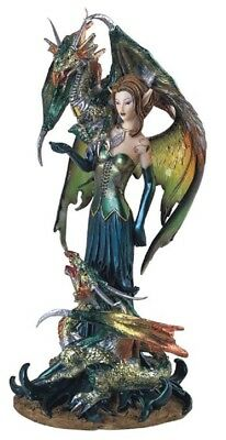 Green Fairy with Dragons Medieval Fantasy Figurine Fairy Tale Pixie Decoration