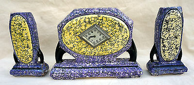 Art Deco Garniture Mantel Clock with Vases Belgium Majolica 1940