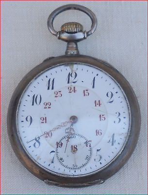 French Crescent Pocket Watch Engraved Sterling Silver Case FOR SPARE PARTS