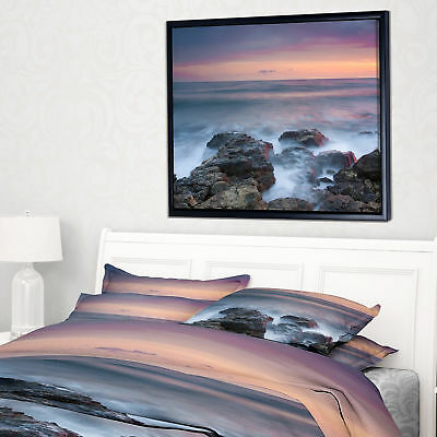 'Blue Rocky Sea Beach Sunset' Framed Photographic Print on Wrapped Canvas