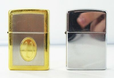 Zippo Lot Of 2 1993 1996 Two Tone Cameo and Chrome Lighters No Box or Papers W12