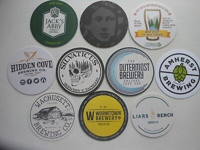 10 Craft Beer Coasters-Silvaticus,hog Island,liars Bench,medusa,wormtown,amherst
