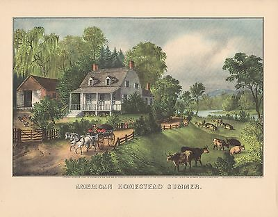 """1952 Vintage Currier & Ives """"AMERICAN HOMESTEAD SUMMER"""" LOVELY COLOR Lithograph"""