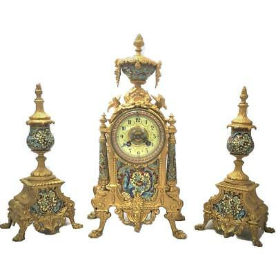 French 8 Day Bell Striking Gilt Metal & Champleve Mantle Clock Garniature Set
