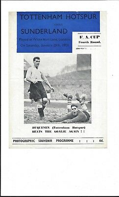 1949-50 TOTTENHAM HOTSPUR v SUNDERLAND F.A. CUP PIRATE BY ROSS GOOD CONDITION