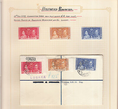 NORTHERN RHODESIA 1937 ROYAL WEDDING SET MINT & registered FDC