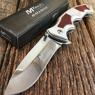 """8.5"""" Silver MTECH XTREME Ballistic Spring Assisted Open TACTICAL Pocket Knife. T"""